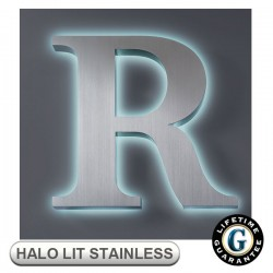 Gemini Halo Lit FABRICATED STAINLESS STEEL Sign Letters