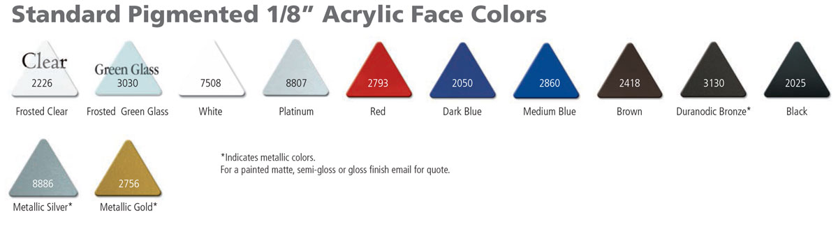 Acrylic Laminate Standard Face Colors